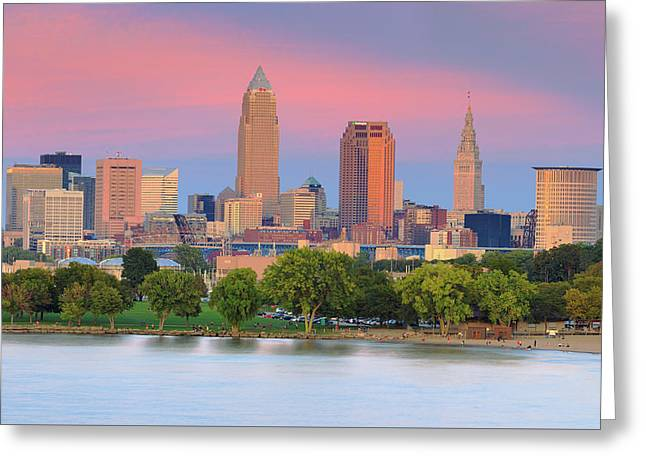 Greeting Card featuring the photograph Cleveland Skyline 6 by Emmanuel Panagiotakis