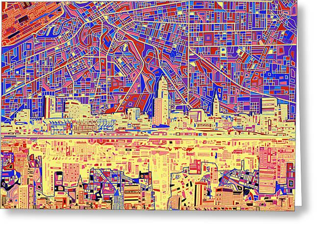 Cleveland Skyline Abstract 11 Greeting Card