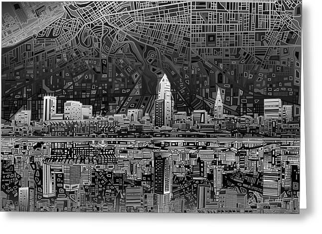 Cleveland Skyline Abstract 3 Greeting Card