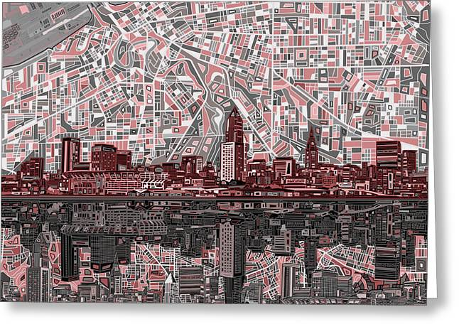 Cleveland Skyline Abstract 5 Greeting Card