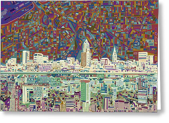 Cleveland Skyline Abstract 8 Greeting Card