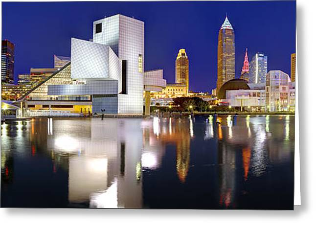 Cleveland Skyline At Dusk Greeting Card