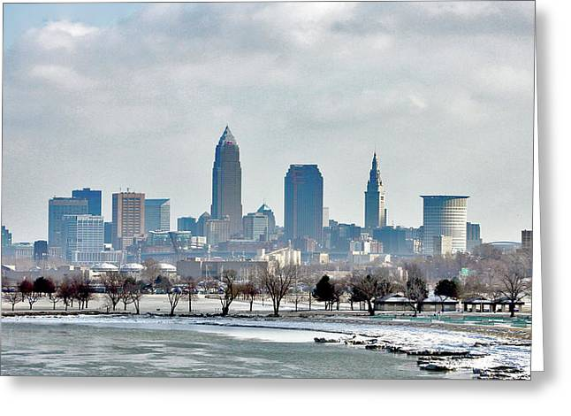 Cleveland Skyline In Winter Greeting Card