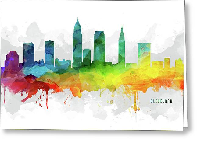 Cleveland Skyline Mmr-usohcl05 Greeting Card by Aged Pixel