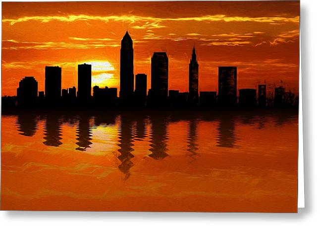 Cleveland Skyline Sunset Reflection Greeting Card by Dan Sproul