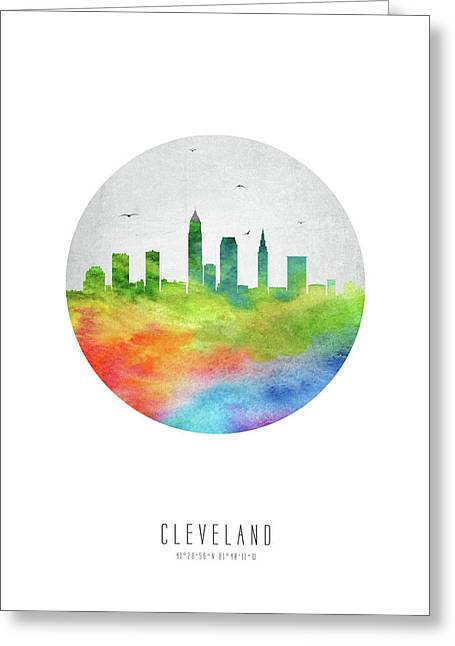 Cleveland Skyline Usohcl20 Greeting Card by Aged Pixel
