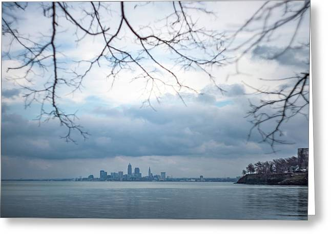 Cleveland Skyline With A Vintage Lens Greeting Card
