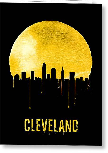 Cleveland Skyline Yellow Greeting Card by Naxart Studio