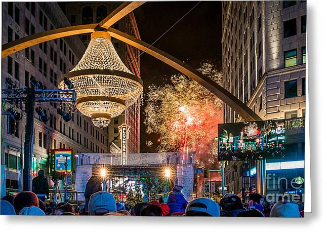Cleveland Playhouse Square Winterfest Fireworks 2015 Greeting Card by Frank Cramer