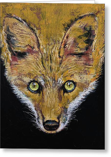 Clever Fox Greeting Card by Michael Creese