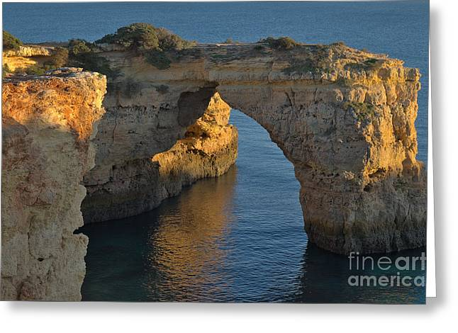 Cliff Arch In Albandeira Beach During Sunset 2 Greeting Card