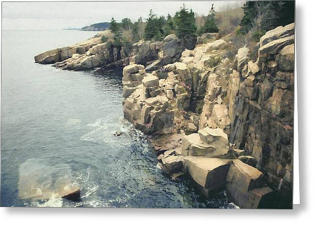 Cliff, Bar Harbor, Me Greeting Card by Scott Griswold