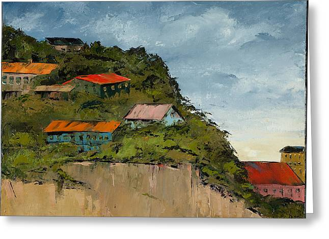 Cliff Homes Greeting Card by Carolyn Doe