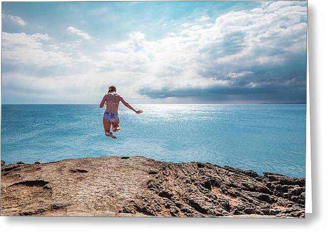 Greeting Card featuring the photograph Cliff Jumping by Break The Silhouette