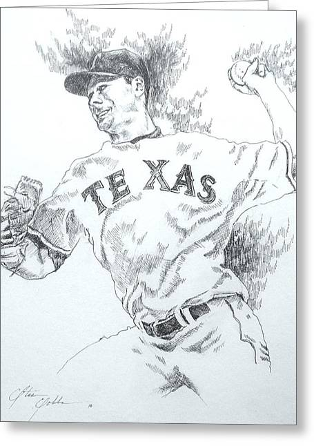 Cliff Lee Drawings Greeting Cards - Cliff Lee Greeting Card by Otis  Cobb