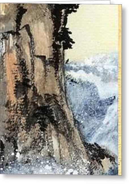 Cliff With Waves Greeting Card by Linda Smith