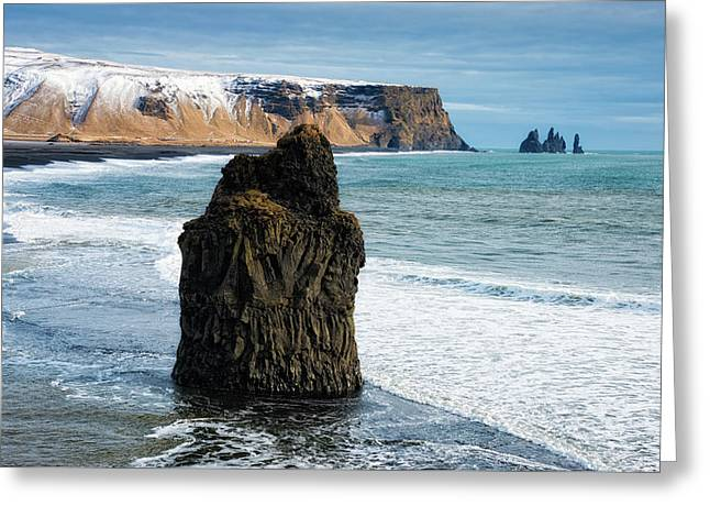 Greeting Card featuring the photograph Cliffs And Ocean In Iceland Reynisfjara by Matthias Hauser