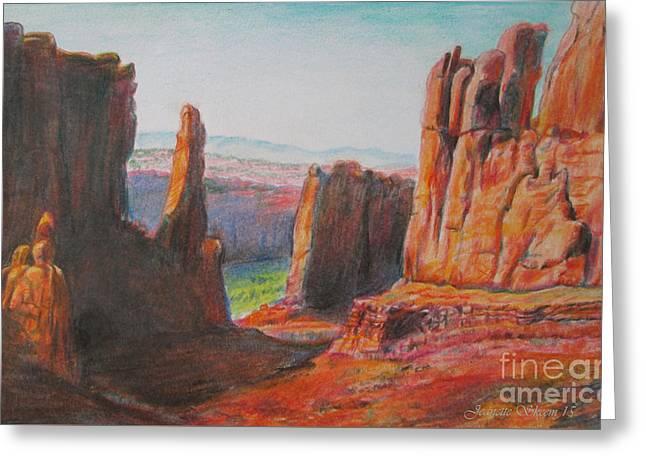 Cliffs In Moab  Greeting Card by Stephanie  Skeem
