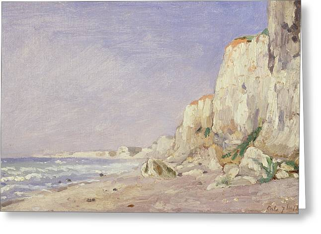 Cliffs Near Dieppe Greeting Card by Adolphe-Felix Cals