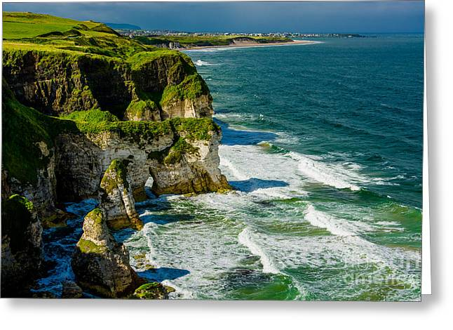 Cliffs Near Portrush In Northern Ireland Greeting Card