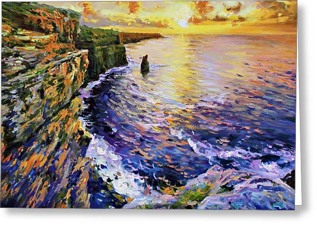Cliffs Paintings Greeting Cards - Cliffs of Moher at Sunset Greeting Card by Conor McGuire