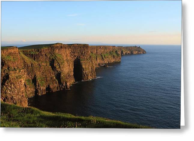 Cliffs Of Moher In County Clare At Sunset Greeting Card
