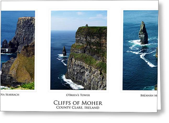 Cliffs Of Moher Greeting Cards - Cliffs of Moher Ireland Triptych Greeting Card by Teresa Mucha