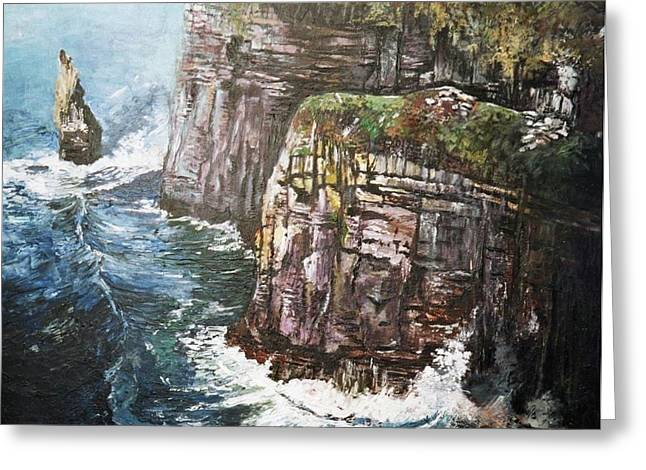 Greeting Card featuring the painting Cliffs  by Paul Weerasekera