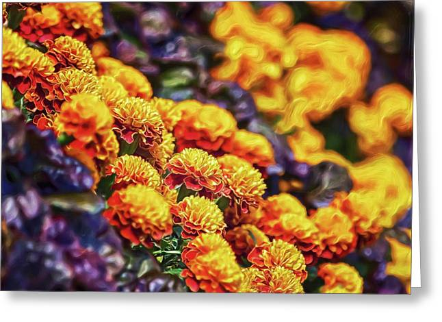 Greeting Card featuring the digital art Cliffside Flowers by Doctor Mehta