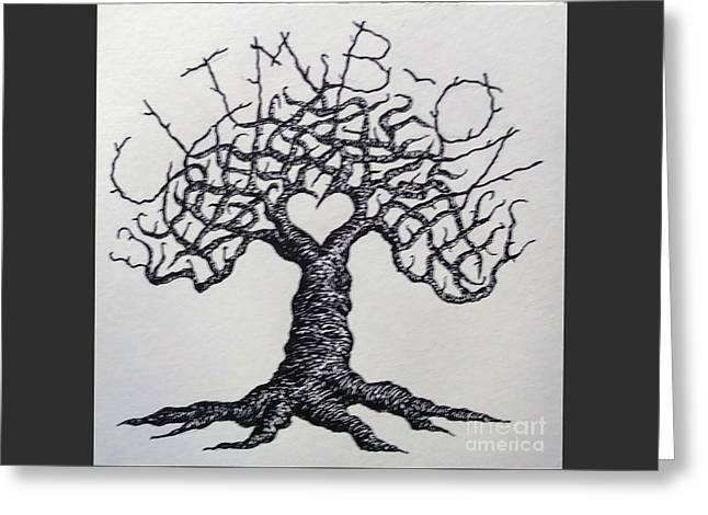 Greeting Card featuring the drawing Climb-on Love Tree- Blk/wht by Aaron Bombalicki
