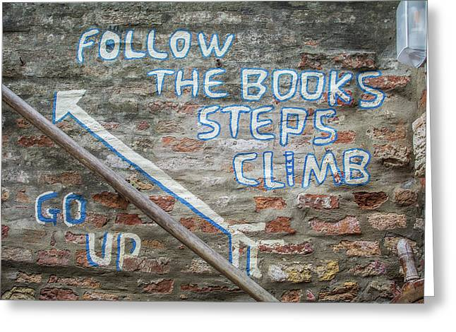 Climb The Books Greeting Card by Rainbeau Decker