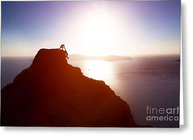 Climber Giving Hand And Helping His Friend To Reach The Top Of The Mountain Greeting Card