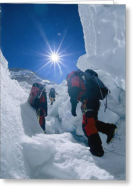 Climbers Ascend The Khumbu Ice Fall Greeting Card by Bobby Model