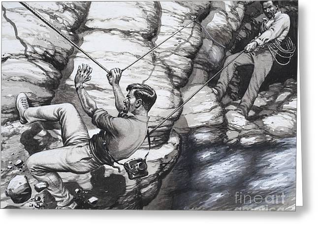 Climbing Archaeologists Greeting Card by Pat Nicolle