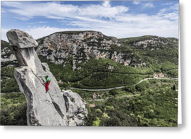 Climbing At The Tre Frati Greeting Card by James Rushforth