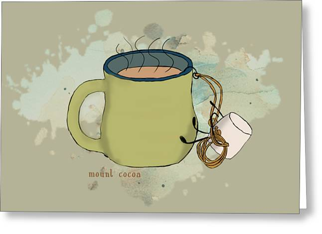 Climbing Mt Cocoa Illustrated Greeting Card by Heather Applegate