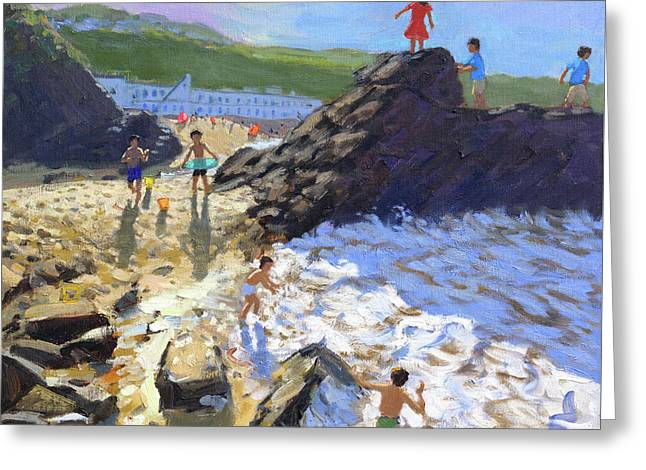 Climbing On The Rocks, St Ives Greeting Card by Andrew Macara