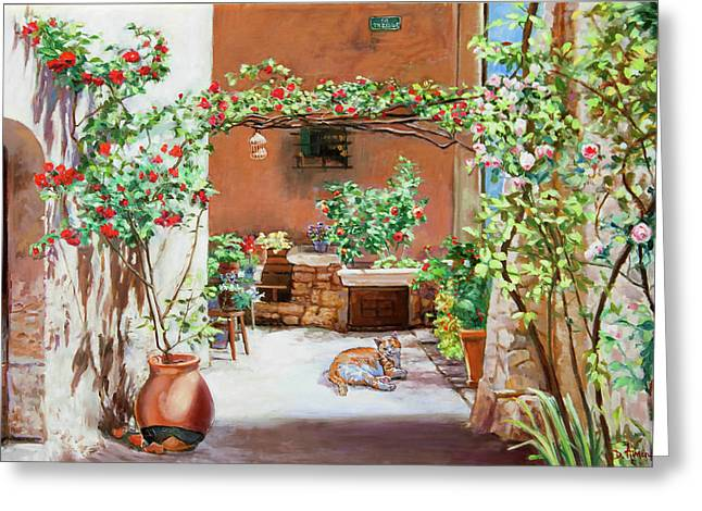 Climbing Roses In La Treille Courtyard Greeting Card by Dominique Amendola