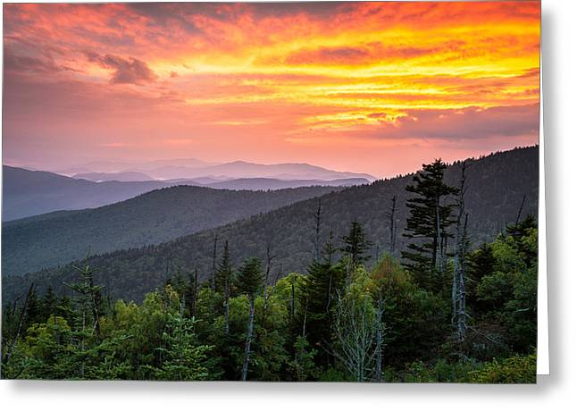 Clingmans Dome Great Smoky Mountains - Purple Mountains Majesty Greeting Card by Dave Allen