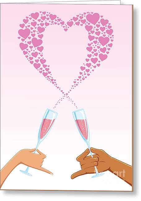 Clinking Glasses With A Heart Of Hearts Greeting Card by David Spieth