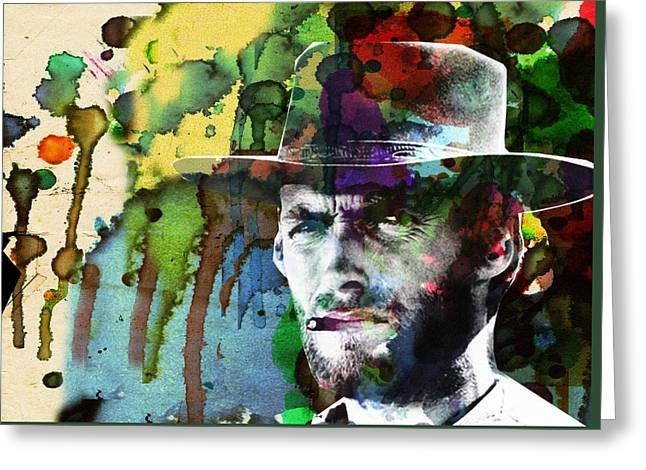 Clint Cowboy Art Abstract Greeting Card by Robert R Splashy Art Abstract Paintings