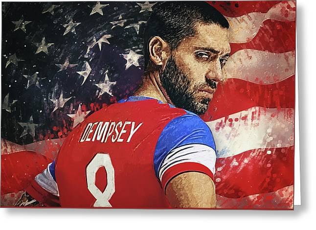 Clint Dempsey Greeting Card by Taylan Apukovska