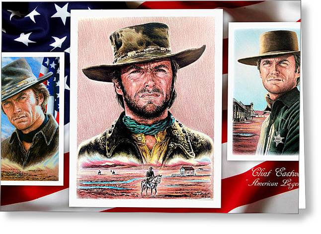 Clint Eastwood American Legend 2nd Ver Greeting Card by Andrew Read