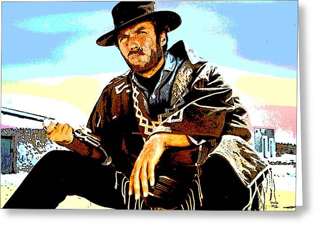 Clint Eastwood Greeting Card by Charles Shoup