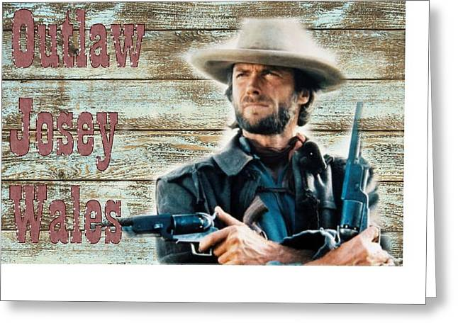 Clint Eastwood Outlaw Josey Wales Greeting Card by Peter Nowell