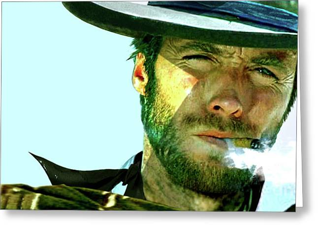 Clint Eastwood Painting - The Man With No Name Greeting Card by Thomas Pollart