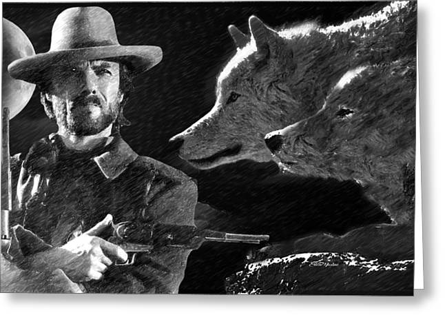 Clint Eastwood With Wolves Greeting Card