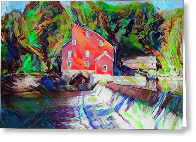 Clinton New Jersey -the Red Mill  On The Raritan River  Watercol Greeting Card