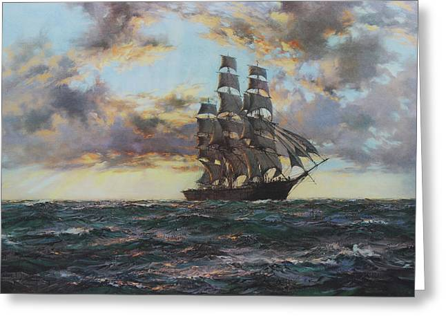 Clipper Kaisow Greeting Card by Montague Dawson