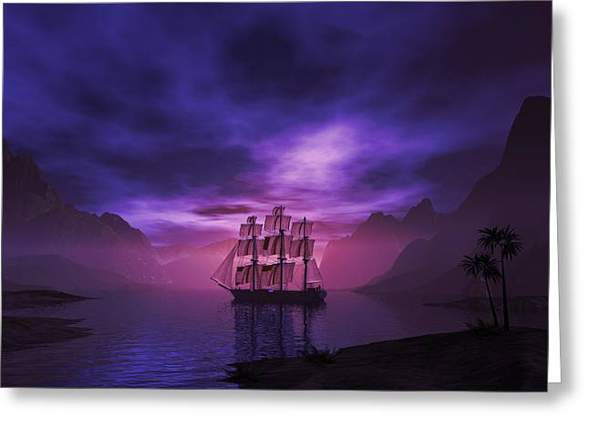 Clipper Ship At Sunset II Greeting Card by Carol and Mike Werner